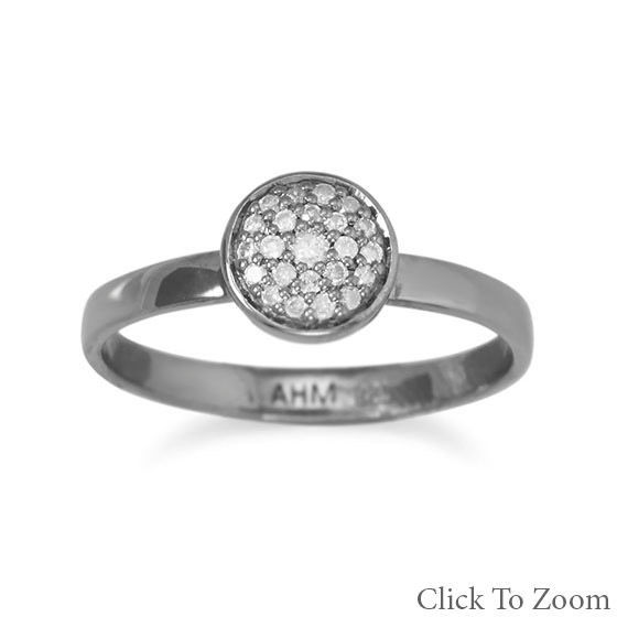 Midnight Collection Round Halo Ring With Gray Diamonds Sterling Silver