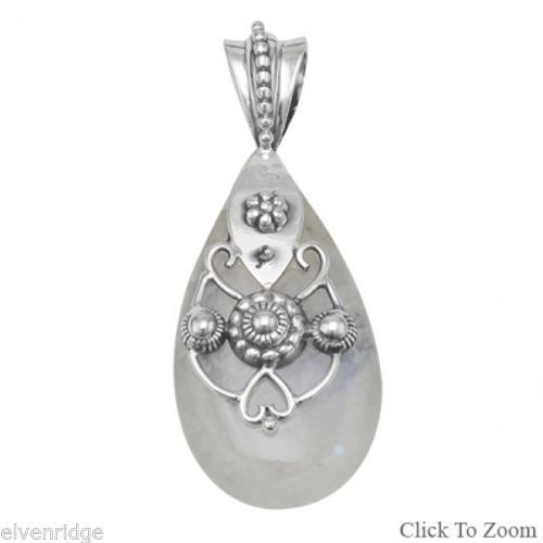 Ornate Rainbow Moonstone Pendant Sterling Silver