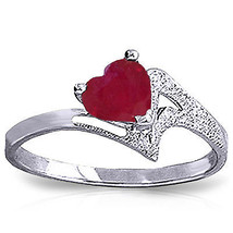 1 ct Platinum Plated 925 Sterling Silver Loveheart Ruby Ring - $95.23