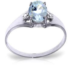 0.76 CTW Platinum Plated 925 Sterling Silver Brilliance Aquamarine Diamond Ring - $79.95