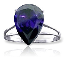 4.65 ct Platinum Plated 925 Sterling Silver Ring Natural Sapphire - $121.10