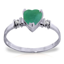 Platinum Plated 925 Sterling Silver Ring w/ Natural Emerald & Diamonds - $84.77