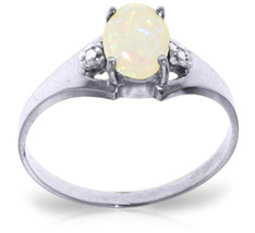 0.46 ct Platinum Plated 925 Sterling Silver Rings Natural Diamond Opal - $74.84