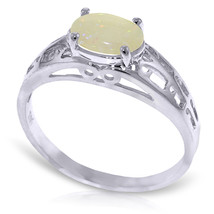 Platinum Plated 925 Sterling Silver Filigree Ring w/ Natural Opal - $79.50