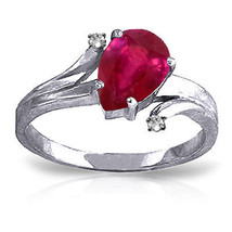 1.51 ct Platinum Plated 925 Sterling Silver Lovelight Ruby Diamond Ring - $75.56