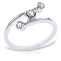 Platinum Plated 925 Sterling Silver Ring w/0.30 ct Natural Diamonds - $116.44