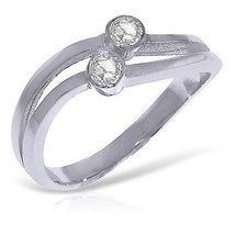 Platinum Plated 925 Sterling Silver Ring w/0.20 ct Natural Diamonds - $126.79