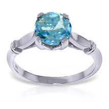 Platinum Plated 925 Sterling Silver Solitaire Ring w/ Blue Topaz - $49.68