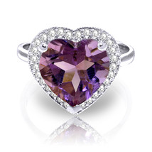 3.24 CTW Platinum Plated 925 Sterling Silver Ring Diamond Heart Amethyst - $145.94