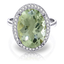 5.28 ct Platinum Plated 925 Sterling Silver Loren Green Amethyst Diamond Ring - $151.38