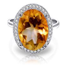 5.28 ct Platinum Plated 925 Sterling Silver Loren Citrine Diamond Ring - $151.38