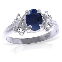1.47 CTW Platinum Plated 925 Sterling Silver Xo Sapphire Diamond Ring - $126.79