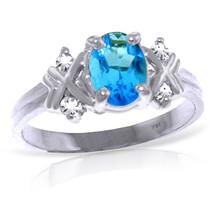 0.97 ct Platinum Plated 925 Sterling Silver Xo Blue Topaz Diamond Ring - $101.44