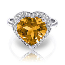 3.24 CTW Platinum Plated 925 Sterling Silver Ring Diamond Heart Citrine - $145.94