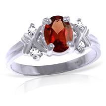0.97 CTW Platinum Plated 925 Sterling Silver Xo Garnet Diamond Ring - $105.06