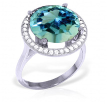 8 ct Platinum Plated 925 Sterling Silver Ingrid Blue Topaz Diamond Ring - $160.70