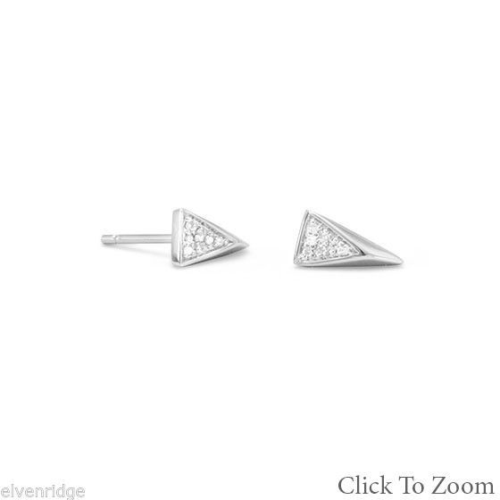 Rhodium Plated Small Triangle Earrings with Diamonds Sterling Silver