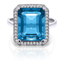7.8 ct Platinum Plated 925 Sterling Silver Isabella Blue Topaz Diamond Ring - $174.66