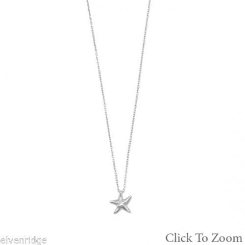Rhodium Plated Starfish Necklace with Diamond Sterling Silver
