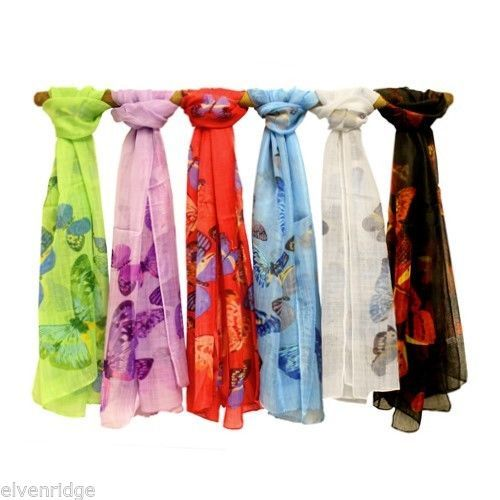 Sheer Butterfly Scarf print great pop of color spring or summer