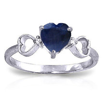 1.01 CTW Platinum Plated 925 Sterling Silver Tri Heart Sapphire Diamond Ring - $77.63