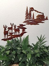 NEW 2-Pc Rustic Wilderness Log Cabin / Deer by ... - $49.01