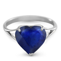 Platinum Plated 925 Sterling Silver Ring w/ Natural 10.0 mm Heart Sapphire - $142.84