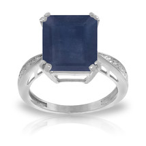 7.27 ct Platinum Plated 925 Sterling Silver Ring Natural Diamond Sapphire - $189.80