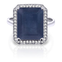 6.6 CTW Platinum Plated 925 Sterling Silver Isabella Sapphire Diamond Ring - $288.32