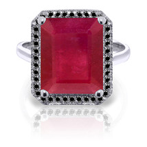 Platinum Plated 925 Sterling Silver Ring w/ Natural Black Diamonds & Ruby - $287.61