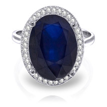 6.58 CTW Platinum Plated 925 Sterling Silver Loren Sapphire Diamond Ring - $276.67