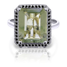 Platinum Plated 925 Sterling Silver Ring w/ Black Diamonds & Green Amethyst - $144.39