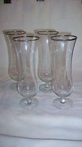 Set of Four Silver Rimmed Parfait / Cordial Footed Clear Glasses - $27.71