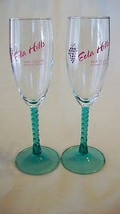 Pair of Green Spiral Stem Wine Glasses from Eola Hills Wine Cellar of Or... - $31.67