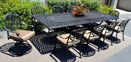 """11 piece aluminum outdoor dining set rectangle Santa Clara extension table 132"""" image 2"""
