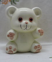 Vintage Pale Yellow Ceramic Teddy Bear With Glass Eyes Bank // Piggy Bank - $10.75