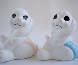 Vintage Easter Bunny Baby White Bunny Boy and Girl Hand Painted Ceramic  - $8.50