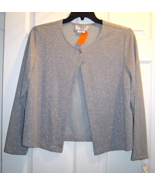 Cervelle Sliver Shimmery 2 Button Long Sleeve Jacket Women's Size L - $19.99