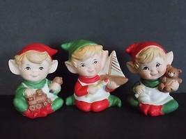 VTG Homco Santa's Christmas Elf Shelf Elves Trio Workshop Toys Train Boa... - $14.20