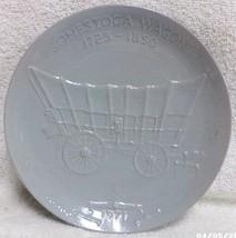 Frankoma Pottery Signed Blue Gray 1971 Consetoga Wagon Plate # 588 Okla ... - $49.99