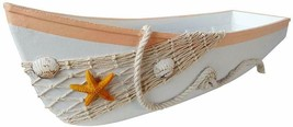 Beach Theme Display Boat Tray with Star Fish Sea Shell and Fish Net 17''L   - $27.07