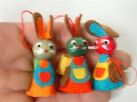 Vintage Hand Painted Wood Bunny Rabbit Ornament Burlap Multi Color Easter Lot 3 - $19.78