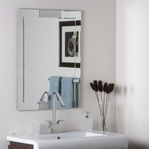 Large Bathroom Mirror Silver Unframed Wall Deco... - $163.30