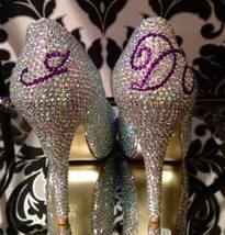 Crystal Bridal Shoes Peep Toe/Closed Toe Heels Swarovski Wedding Bridesmaid Shoe - $125.00