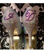 Crystal Bridal Shoes Peep Toe/Closed Toe Heels Swarovski Wedding Bridesm... - $125.00