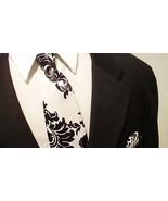 Damask Necktie  Men Satin Black White Necktie Wedding Party Groomsmen, R... - $25.95