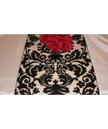 "Damask Black & Ivory Cream White Table Runner Onyx 72"" - $19.99"