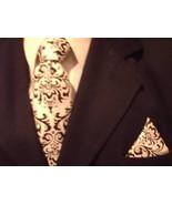 Damask Hanky Pocket Square  Tuxedo Madison Black White - $9.00