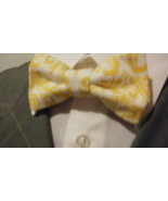 Damask Bowtie  Men Yellow White Bow Tie Madison Wedding Bridal Groomsmen... - $19.95