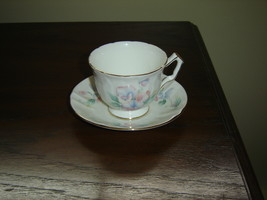 Aynsley pink blue flower embossed cup and saucer mint condition - $14.99